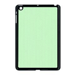 Classic Mint Green & White Herringbone Pattern Apple Ipad Mini Case (black) by PodArtist