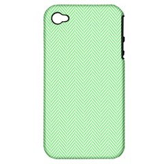Classic Mint Green & White Herringbone Pattern Apple Iphone 4/4s Hardshell Case (pc+silicone) by PodArtist