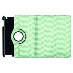 Classic Mint Green & White Herringbone Pattern Apple Ipad 3/4 Flip 360 Case by PodArtist