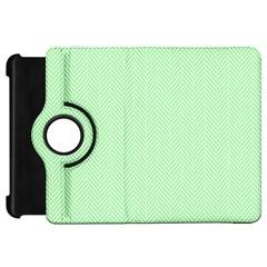 Classic Mint Green & White Herringbone Pattern Kindle Fire Hd 7  by PodArtist