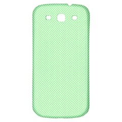 Classic Mint Green & White Herringbone Pattern Samsung Galaxy S3 S Iii Classic Hardshell Back Case by PodArtist