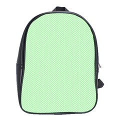 Classic Mint Green & White Herringbone Pattern School Bag (xl) by PodArtist