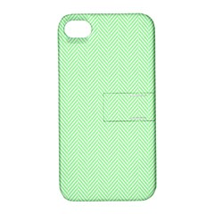 Classic Mint Green & White Herringbone Pattern Apple Iphone 4/4s Hardshell Case With Stand by PodArtist