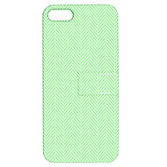 Classic Mint Green & White Herringbone Pattern Apple Iphone 5 Hardshell Case With Stand by PodArtist