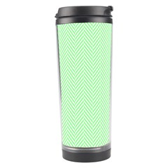 Classic Mint Green & White Herringbone Pattern Travel Tumbler by PodArtist