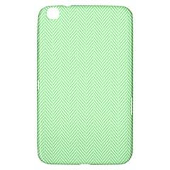 Classic Mint Green & White Herringbone Pattern Samsung Galaxy Tab 3 (8 ) T3100 Hardshell Case  by PodArtist