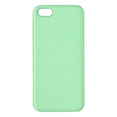 Classic Mint Green & White Herringbone Pattern Iphone 5s/ Se Premium Hardshell Case by PodArtist