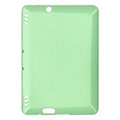 Classic Mint Green & White Herringbone Pattern Kindle Fire Hdx Hardshell Case by PodArtist