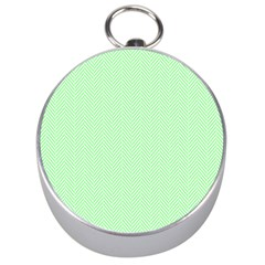 Classic Mint Green & White Herringbone Pattern Silver Compasses by PodArtist