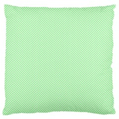 Classic Mint Green & White Herringbone Pattern Large Flano Cushion Case (two Sides) by PodArtist