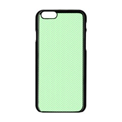 Classic Mint Green & White Herringbone Pattern Apple Iphone 6/6s Black Enamel Case by PodArtist