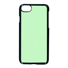 Classic Mint Green & White Herringbone Pattern Apple Iphone 7 Seamless Case (black) by PodArtist