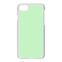 Classic Mint Green & White Herringbone Pattern Apple Iphone 7 Seamless Case (white) by PodArtist