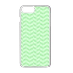 Classic Mint Green & White Herringbone Pattern Apple Iphone 8 Plus Seamless Case (white) by PodArtist