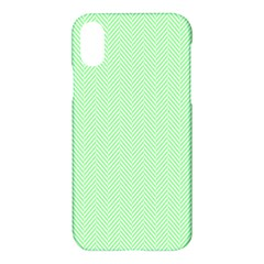 Classic Mint Green & White Herringbone Pattern Apple Iphone X Hardshell Case by PodArtist