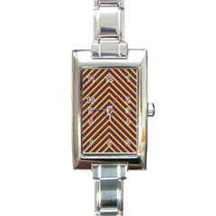 Gay Pride Flag Rainbow Chevron Stripe Rectangle Italian Charm Watch by PodArtist
