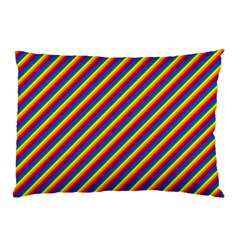Gay Pride Flag Candy Cane Diagonal Stripe Pillow Case by PodArtist