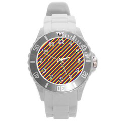 Gay Pride Flag Candy Cane Diagonal Stripe Round Plastic Sport Watch (l) by PodArtist