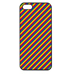 Gay Pride Flag Candy Cane Diagonal Stripe Apple Iphone 5 Seamless Case (black) by PodArtist