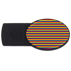 Horizontal Gay Pride Rainbow Flag Pin Stripes Usb Flash Drive Oval (4 Gb) by PodArtist