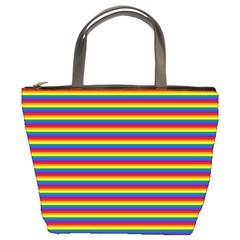 Horizontal Gay Pride Rainbow Flag Pin Stripes Bucket Bags by PodArtist