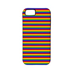 Horizontal Gay Pride Rainbow Flag Pin Stripes Apple Iphone 5 Classic Hardshell Case (pc+silicone) by PodArtist