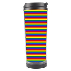 Horizontal Gay Pride Rainbow Flag Pin Stripes Travel Tumbler by PodArtist