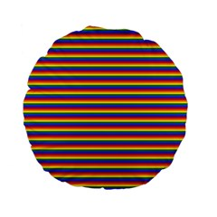 Horizontal Gay Pride Rainbow Flag Pin Stripes Standard 15  Premium Flano Round Cushions by PodArtist