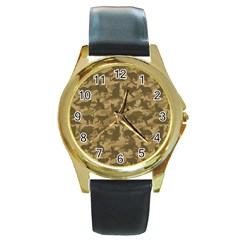 Operation Desert Cat Camouflage Catmouflage Round Gold Metal Watch by PodArtist