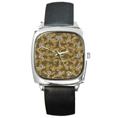 Operation Desert Cat Camouflage Catmouflage Square Metal Watch