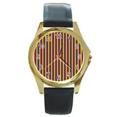 Vertical Gay Pride Rainbow Flag Pin Stripes Round Gold Metal Watch by PodArtist