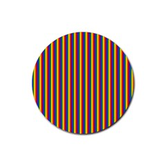 Vertical Gay Pride Rainbow Flag Pin Stripes Rubber Coaster (round)  by PodArtist