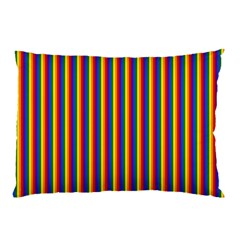 Vertical Gay Pride Rainbow Flag Pin Stripes Pillow Case by PodArtist