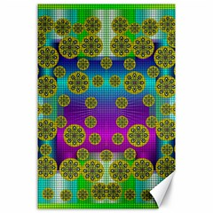 Celtic Mosaic With Wonderful Flowers Canvas 24  X 36  by pepitasart