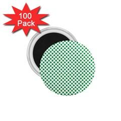 Green Shamrock Clover On White St  Patrick s Day 1 75  Magnets (100 Pack)  by PodArtist