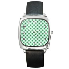 Green Shamrock Clover On White St  Patrick s Day Square Metal Watch by PodArtist