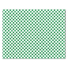 Green Shamrock Clover On White St  Patrick s Day Rectangular Jigsaw Puzzl by PodArtist