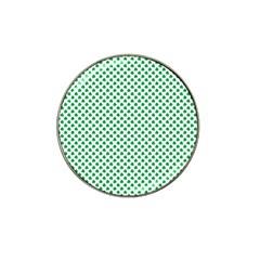 Green Shamrock Clover On White St  Patrick s Day Hat Clip Ball Marker (10 Pack) by PodArtist