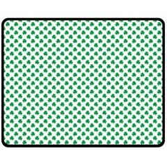 Green Shamrock Clover On White St  Patrick s Day Fleece Blanket (medium)  by PodArtist