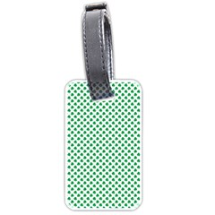 Green Shamrock Clover On White St  Patrick s Day Luggage Tags (one Side)  by PodArtist