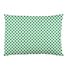 Green Shamrock Clover On White St  Patrick s Day Pillow Case (two Sides) by PodArtist