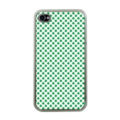 Green Shamrock Clover On White St  Patrick s Day Apple Iphone 4 Case (clear) by PodArtist