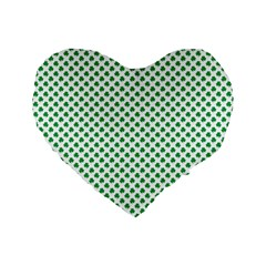Green Shamrock Clover On White St  Patrick s Day Standard 16  Premium Flano Heart Shape Cushions by PodArtist