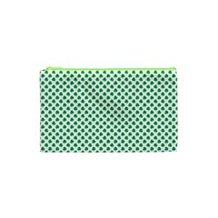 Green Shamrock Clover On White St  Patrick s Day Cosmetic Bag (xs) by PodArtist