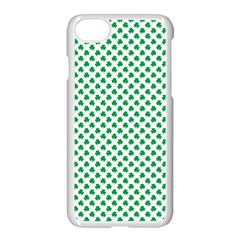 Green Shamrock Clover On White St  Patrick s Day Apple Iphone 7 Seamless Case (white) by PodArtist