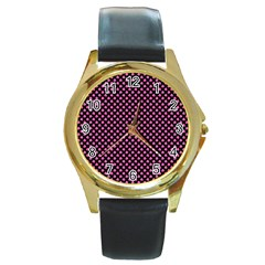 Small Hot Pink Irish Shamrock Clover On Black Round Gold Metal Watch by PodArtist