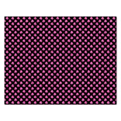 Small Hot Pink Irish Shamrock Clover On Black Rectangular Jigsaw Puzzl by PodArtist
