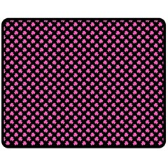 Small Hot Pink Irish Shamrock Clover On Black Fleece Blanket (medium)  by PodArtist