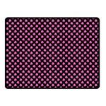 Small Hot Pink Irish Shamrock Clover on Black Fleece Blanket (Small) 50 x40 Blanket Front