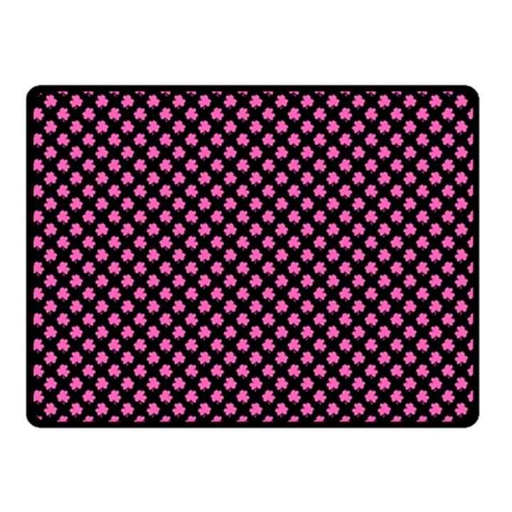 Small Hot Pink Irish Shamrock Clover on Black Fleece Blanket (Small)